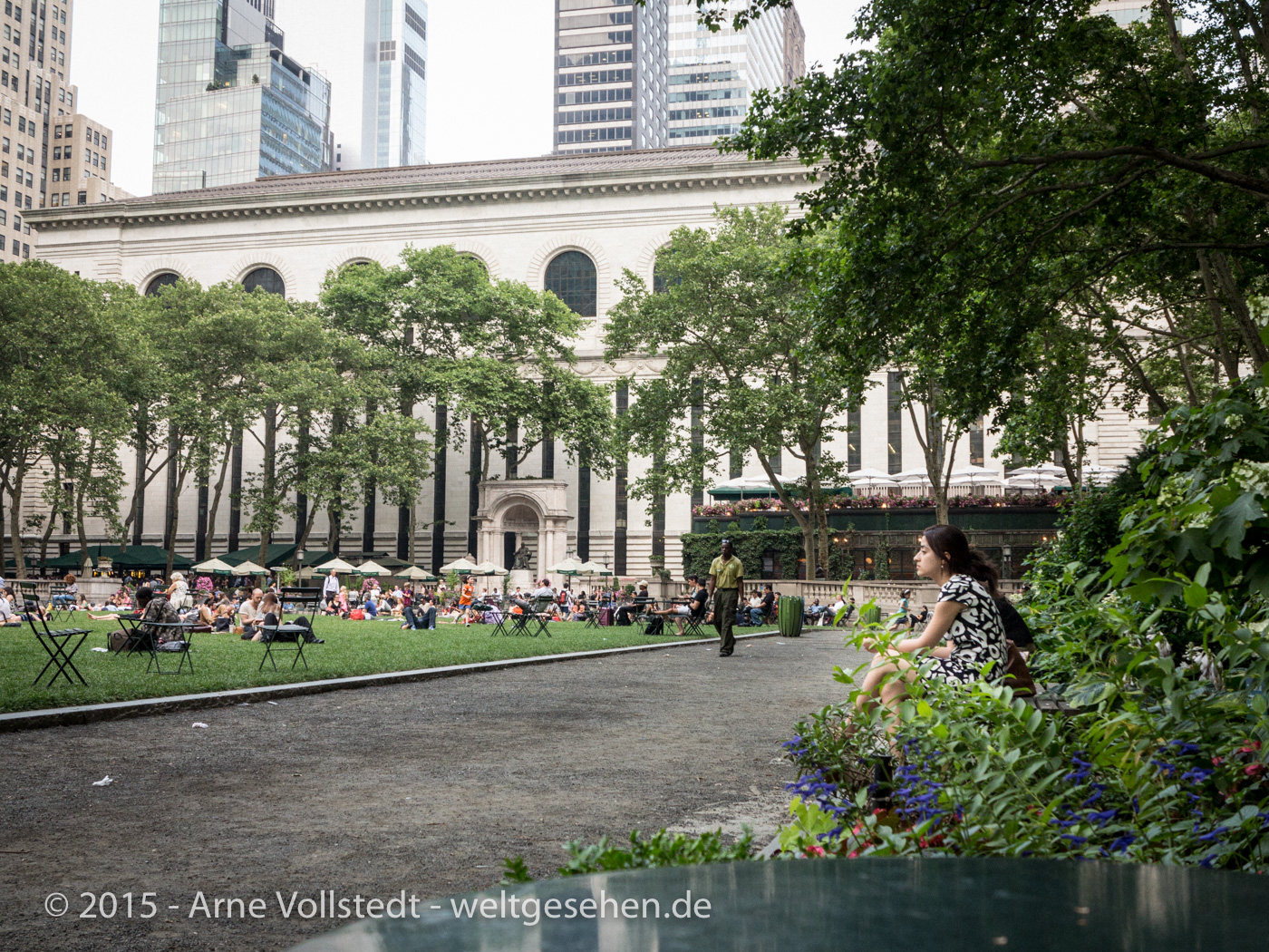 Bryant Park and a roof