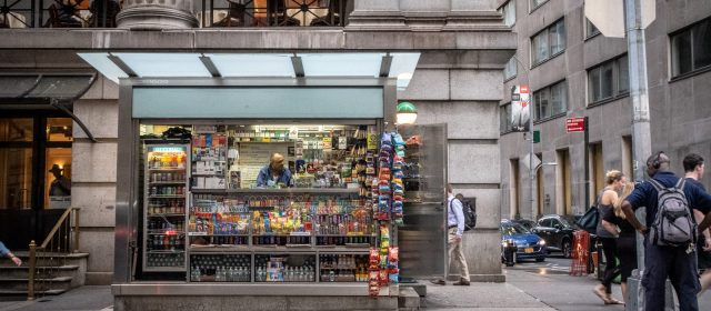 Die Wall Street und ein Kiosk
